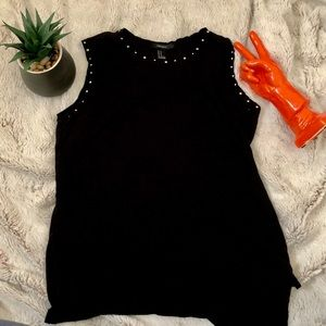 Black Tank with Detailed Collar & Sleeves